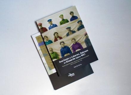 Vormgeving en opmaak door Graffito van boek 'Om de oorlog echt te haten, moet men er heel dikwijls over praten… Overleven in Lokeren, Daknam en Eksaarde tijdens WOI'