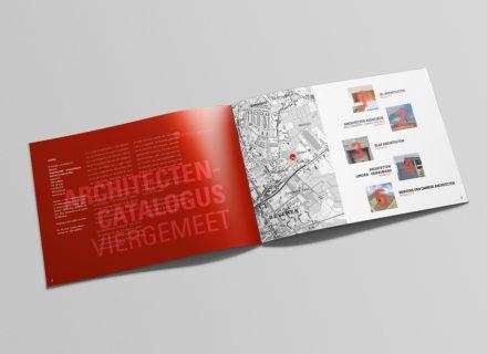 Graffito zorgde voor de opmaak van de architectencatalogus voor het woonproject Viergemeet van Interwaas, binnen de bestaande huisstijl van Interwaas.