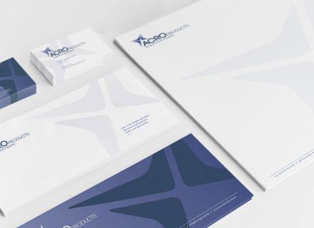 Grafisch ontwerp en vormgeving huisstijl, drukwerk en verpakkingen voor AcroProducts door Graffito