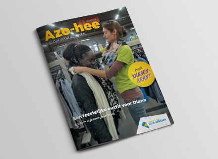 Azo-hee magazine rond welzijn van stad & OCMW Sint-Niklaas, vormgeving en opmaak door Graffito
