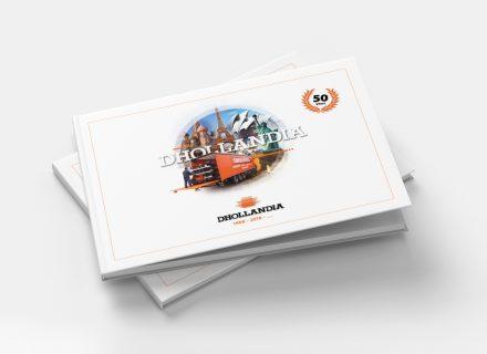 Fotoboek uitgegeven n.a.v. 50-jarig jubileum Dhollandia. Cover. Vormgeving, opmaak en realisatie door Graffito Gent 2018.